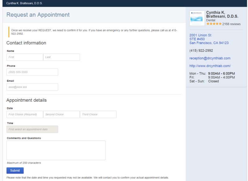 google online appointment booking landing page