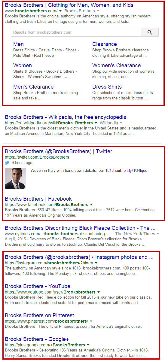 Brooks Brothers Social Profile SEO