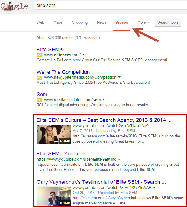 YouTube Videos in Google Video Search
