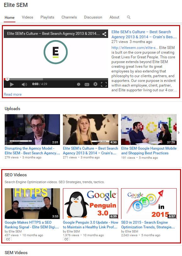 YouTube Channel Homepage Optimization
