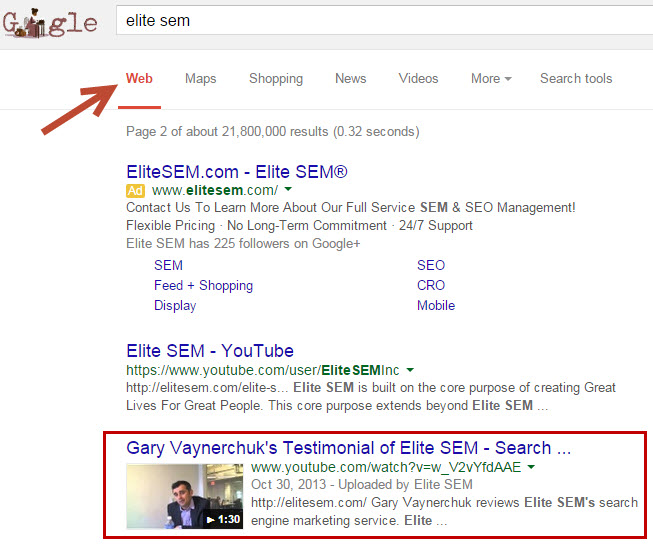 YoUTube Videos in Google Web Search