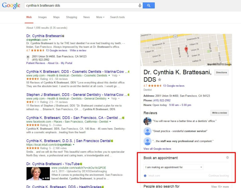 online appointment booking google search results