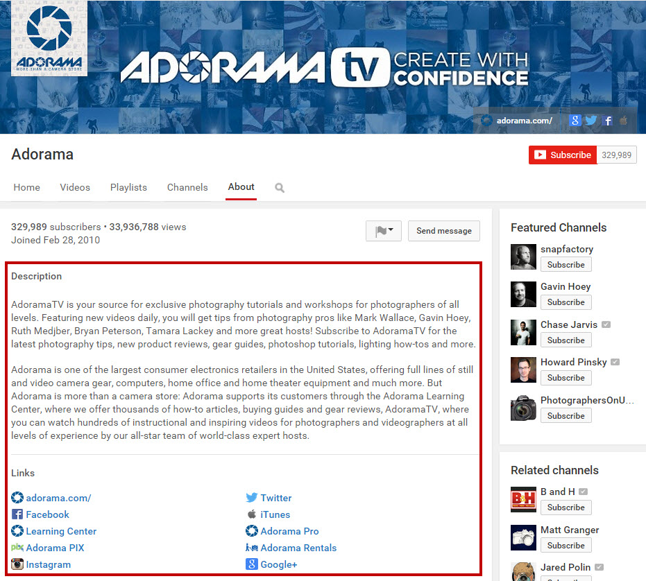 Adorama YouTube Channel SEO