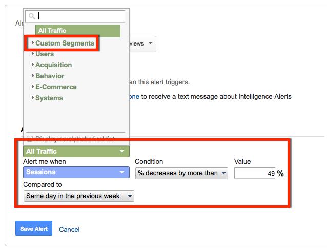 specifying a custom segment in a custom alert for seo