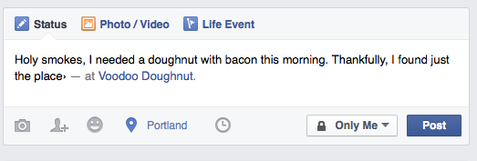Voodoo Doughnuts check in on Facebook