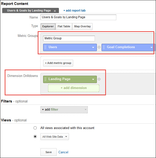 A screenshot of setting up a landing page report in Google Analytics.