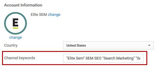 YouTube Channel Keywords