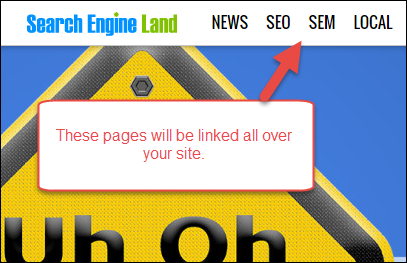 An example of pages highlighted in site-wide navigation
