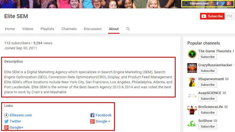 YouTube Channel Description Optimization