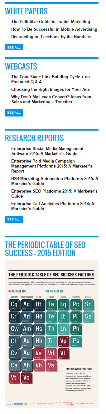 An example of important pages that are highlighted in a site's sidebar