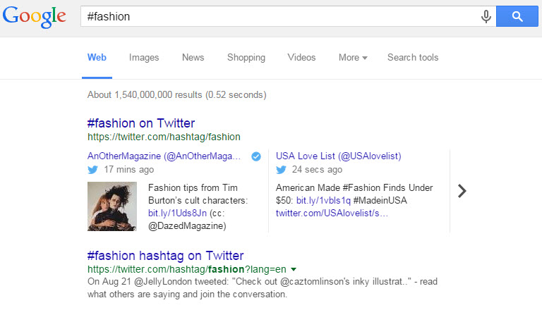 Hashtag Search Google Web Search