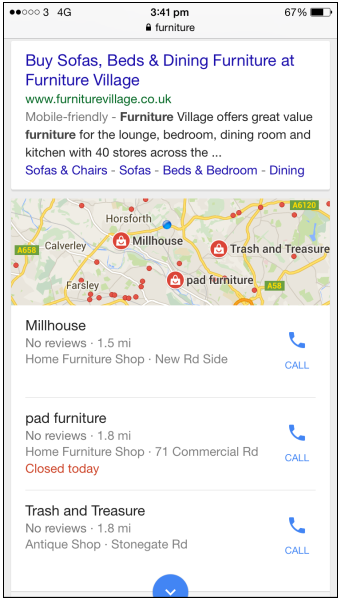 Mobile SERP for furniture