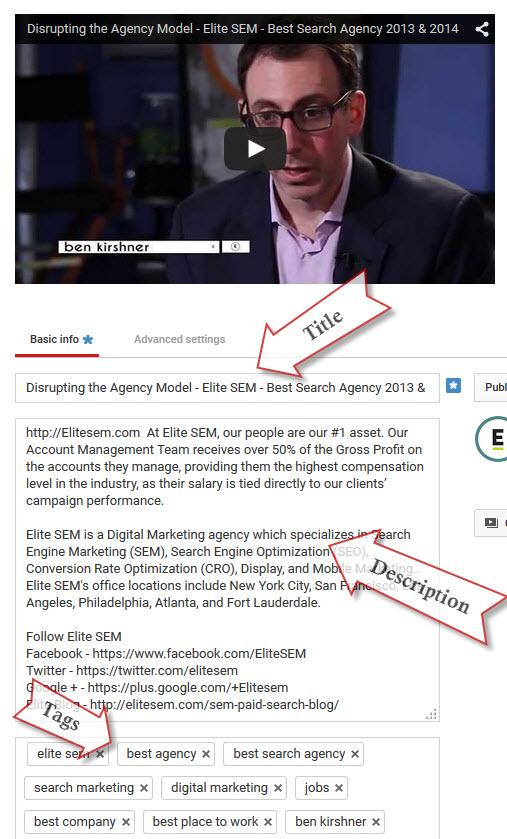 YouTube video optimization meta data